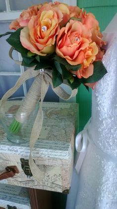Real Touch Peach Coral Rose Wedding Bouquet