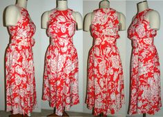 1980s 90s Midi Dress / Floral / Wide Belt by JewvenchyVintageshop