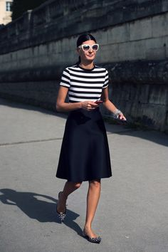 stunning in stripes. Gio in Paris. #GiovannaBattaglia