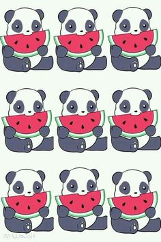 Super Cute Watermelon Eating Panda Wallpaper ♡♥♡♥♡♥ #wallpapers #pandas #kawaii…