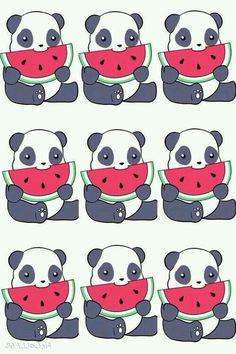 Super Cute Watermelon Eating Panda Wallpaper ♡♥♡♥♡♥ #wallpapers #pandas #kawaii…