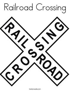 Railroad Crossing Coloring Page - Twisty Noodle