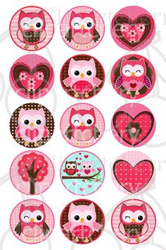 Valentine Cute Owls 1 Inch  Digital Circles Design 4x6-15 Images- 4x6 Sheet via Etsy