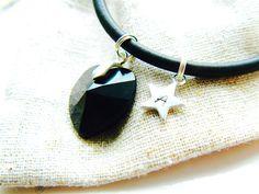 Personalised Black Rubber & Sterling Silver Bracelet with Swarovski Crystal