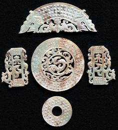 "Fine Chinese Antique burial jade set - Very old.  Extensive ""chicken bone"" effect is evident."