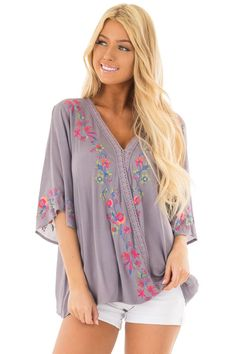 83dd5b6d536577 Lime Lush Boutique - Deep Lavender Surplice Top with Embroidery Detail,  $39.99 (https: