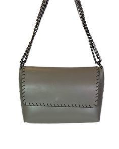 """""""Echo"""" Grey Leather Shoulder Bag, Leather Bag, Hand Stitching, Ss, Kate Spade, Chain, Grey, Gray, Necklaces"""