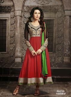 Karishma kapoor Designer Red And Black Anarkali Salwar Suit|Anarkali Suits|Ethnic Wear