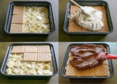 A delicious dessert without baking. Bananas, custard and biscuits are the right combination for small and large sweet tooths. A delicious dessert without baking. Bananas, custard and biscuits are the right combination for small and large sweet tooths. Keks Dessert, Dessert Oreo, No Bake Desserts, Easy Desserts, Delicious Desserts, Homemade Chocolate Frosting, Chocolate Desserts, Sweet Recipes, Cake Recipes