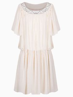 Beige Ruffle Sleeves Dress With Diamond | Choies http://www.halftee.com