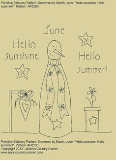 "Primitive Stitchery E-Pattern Rolling Pin Snowman by Month ""June"", Hello Sunshine Hello Summer."" on Etsy, $2.00"