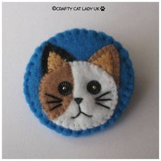 Cat felt brooch pin cat jewelry cat lovers gift by CraftyCatLadyUK
