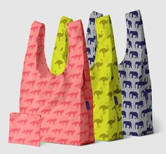 Baggu x 3 from Baggu: From subways to taxis to strollers, one of our very favorite project bags is the indestructible, but always fashionable, Baggu Bag. Made out of ripstop nylon and foldable into a small zippered pouch, these fabulous bags now come in a set of three funky, fun colors and patterns!  $25.00