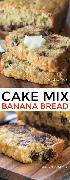 banana bread Cake Mix Banana Bread is one of the easiest banana bread recipes you'll ever try! Just 4 simple ingredients including your add-ins, a quick mix and stir and you're on your wa Cake Mix Banana Bread, Cake Mix Muffins, Easy Banana Bread, Chocolate Chip Banana Bread, Chocolate Cake Mixes, Chocolate Chips, Easiest Banana Bread Recipe, Chocolate Muffins, Banana Bread Brownies