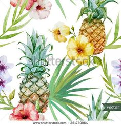 tropical pattern, pineapple, hibiscus, exotic, background