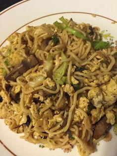 LCHF Keto Shirataki noodle stir fry, mushrooms, cabbage, green onions, egg with soy, ginger and sesame oil