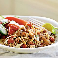Chicken Biryani - Calories: 437 Makes 4 Servings Serving Size 1.5 Cup * Calories from fat: 0.0% * Fat: 9.1g * Saturated fat: 1.4g * Monounsaturated fat: 4.6g * Polyunsaturated fat: 2.3g * Protein: 29.8g * Carbohydrate: 63.2g * Fiber: 4.5g * Cholesterol: 66mg * Iron: 3.4mg * Sodium: 555mg * Calcium: 58mg