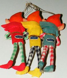 3 Vtg Japan Felt Pixie Elf Ornaments Rubber Christmas Decoration Figurine Dolls | eBay