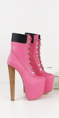 Timber Lace Up Pink Platform Ankle Boots