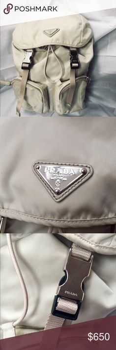 Prada Backpack Authentic Prada Backpack, cream color (color may vary for the light) perfect conditions, two pockets in the front, very confortable, have some dirty but u can wash it at ur own style, accepting offers!  Prada Bags Backpacks