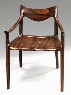 Sam Maloof, Low-Back Side Chair, ziricote and ebony. Connections: Contemporary Craft at the Renwick Gallery Sam Maloof, Wood Hinges, Wooden Projects, Woodworking Furniture, Rocking Chair, American Art, Chair Design, Side Chairs, Wood Art