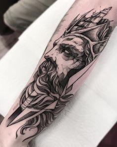 Posseidon Tattoo, Tattoos 3d, Zeus Tattoo, Bild Tattoos, Anime Tattoos, Tattoo Fonts, Body Art Tattoos, Sleeve Tattoos, Tatoos
