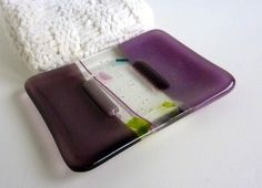 Glass Soap Dish in Dusty Lilac and Violet by bprdesigns