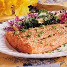 "Sesame Salmon Fillet Recipe -""A tangy honey mustard sauce and sesame seeds dress up salmon,"" offers Karen Gorman of Gunnison, Colorado. Salmon Recipes, Fish Recipes, Seafood Recipes, Cooking Recipes, Seafood Meals, Seafood Dishes, Pan Seared Salmon, Baked Salmon, Top Rated Salmon Recipe"
