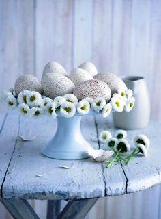 Beautiful speckeld eggs and white daisy wreath on a tarte plate!