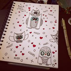 Good Morning! A lil #doodling on a Saturday rainy morning. ☔️ #owls #owl #doodle #doodles #drawing #draw #illustration © #jennysuchindesigns #art #cute #sketchbook #artistsketchbook #doodleaday