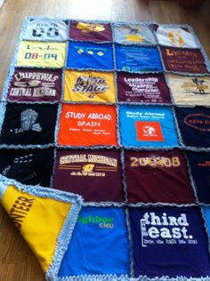 T-Shirt Rag Quilt.. with things that are meaningful to my family... think I will.