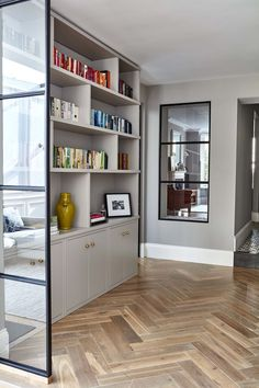 nice internal window with crittal-style black frame to bring light through. interest provided by the tones and variation in the large format herringbone flooring window ideas BRODRICK — Blakes London Home Living Room, Living Room Designs, Living Spaces, Crittal Doors, Crittall Windows, Interior Exterior, Interior Design, Internal Doors, Home Renovation
