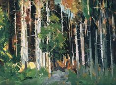 """George Bellows (1882-1925), Through The Trees, year?, oil on canvas, 19.7"""" x 15"""""""