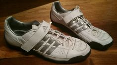 Adidas white Lace Up Velcro Men athletic Shoes US 12 UK 11.5 discus  throw/sport