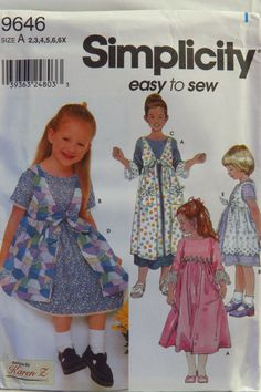 Simplicity 9646 Childs Dress And Pinafore In Two Lengths