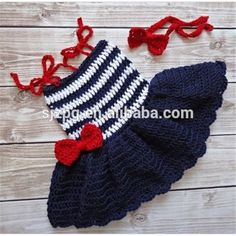 Source Navy blue stripe girls handmade baby crochet dress on m.alibaba.com