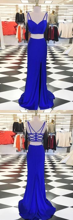 prom dresses 2017, elegant 2 pieces party dresses, sexy split evening gowns, cheap royal blue prom party dresses, vestidos