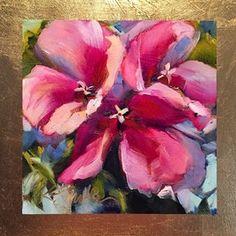 zinnias original oil painting Original art painting by Kim Smith - DailyPainters.com