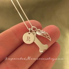 In Memory of a dog Necklace Tiny Sterling Silver - TWO DOGS Memorial Necklace - loss of a dog gift My Angel Has Paws - dog memorial jewelry Dog Necklace, Memorial Jewelry, Argent Sterling, Sterling Silver, Pet Loss, Pet Memorials, Fur Babies, Puppies, Dog Jewelry