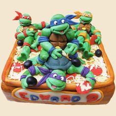 Torta delle Tartarughe Ninja con decorazioni in pasta di zucchero n.20
