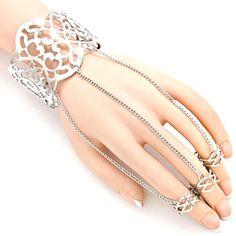 Slave Bracelet, Ring Bracelet, Cuff Bracelets, Hand Chain, Fashion Jewelry, Boho, Heart, Rings, Silver