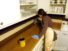 tutorial on how to make butcher black counter tops from reclaimed wood