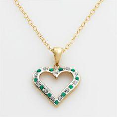 18k Gold-Over-Silver Emerald Heart Pendant