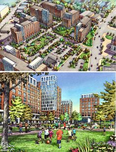 Renderings by Bruce Bondy, Bondy Studio. Elevation Drawing, Architectural Sketches, Urban Sketchers, Affordable Housing, Facade Architecture, Urban Design, Sketchbooks, Designs To Draw, Sketching