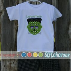 b6f52923 Stitcheroos personalized birthday onesie or shirt embroidered with a  Frankenstein theme.