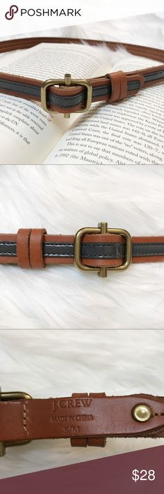 J. Crew Striped Leather Belt Brown leather belt with shiny gray stripe. Like new condition! Size S/M J. Crew Accessories Belts