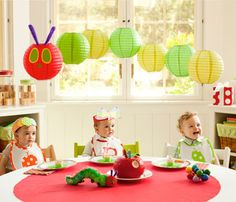 omg the lanterns, the hats, the bibs, the softie on the table, the apple... THE EVERYTHING. Can I just order this party!