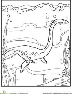 Kindergarten Dinosaurs Worksheets: Color the Dinosaur: Elasmosaurus