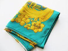 Viyella silk vintage 1970's scarf Green and by MaddyVintageHostess