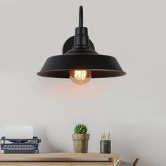 "Gracie Oaks Vilas Black 1 - Bulb 2.5"" H Outdoor Barn Light 